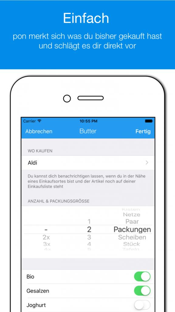 pon – mobile Einkaufsliste